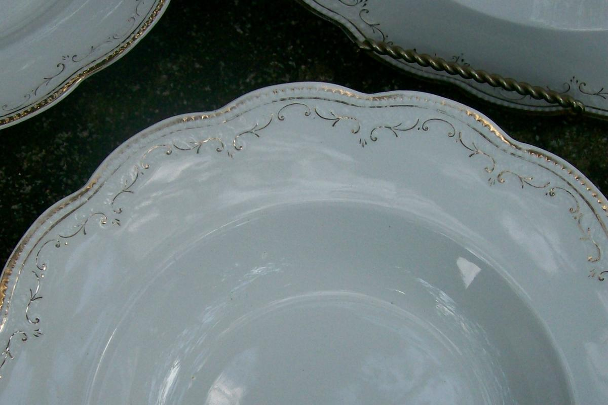 Grindley China Ceramic Soup Bowl Set England Ca. 1920's White/Gold