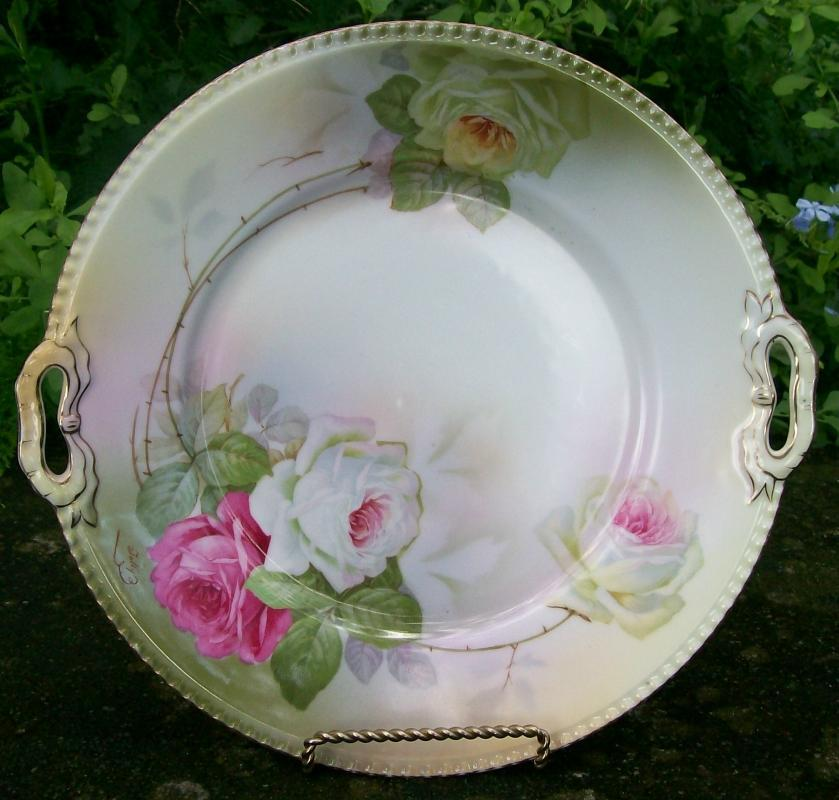 Schwarzburg / Rudolstadt Ceramic Cake Plate with Roses