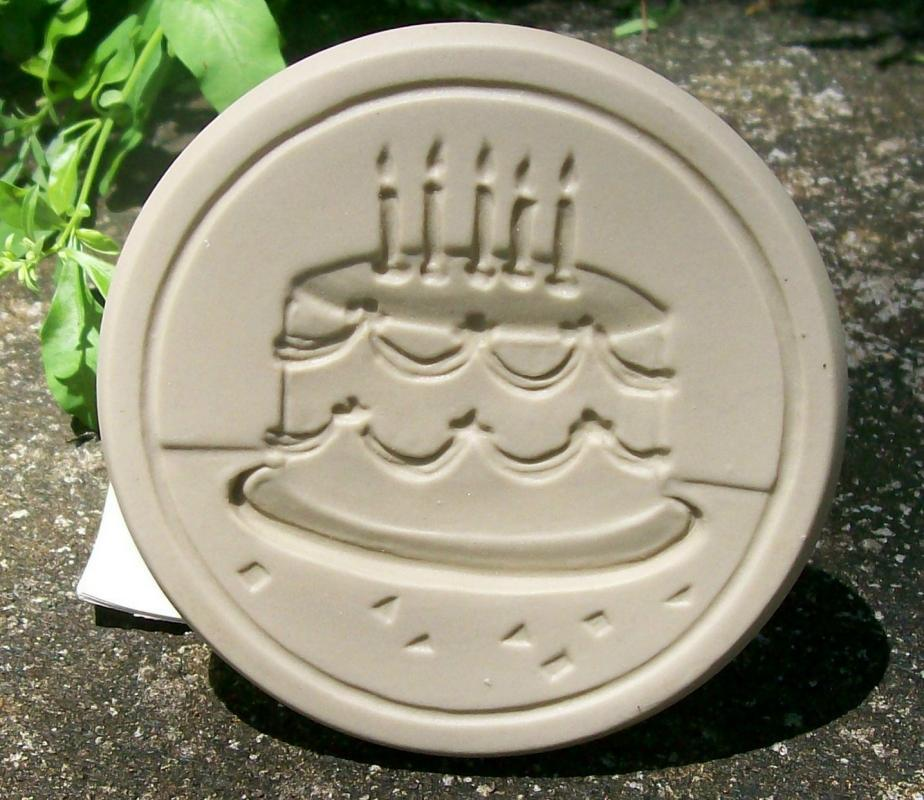Brown Bag Ceramic Cookie Stamp  Birthday Cake No. 35 NIB Resin Handle