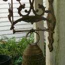 Medieval Style Brass Patio/Garden Bell with Bracket Latin Inscription