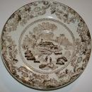 Brown Transfer Ceramic Saucer Oriental Fisherman 1870's-80's English