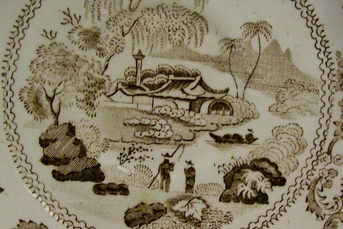 Brown Transfer Ceramic Saucer Oriental Fisherman 1870's-80's English