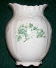 Victorian Ceramic Toothbrush Holder Green Floral Late 1800's