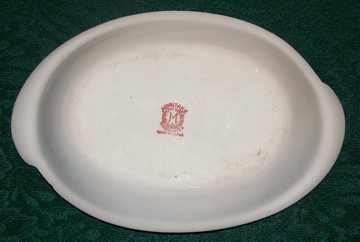 Noritake Landscape-pattern Oval Ceramic Dish Orange Scenic