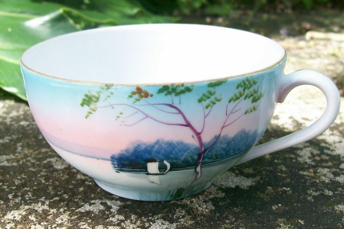 Noritake Landscape-pattern Ceramic Tea Cup Blue & Pink Scenic Ca. 1930
