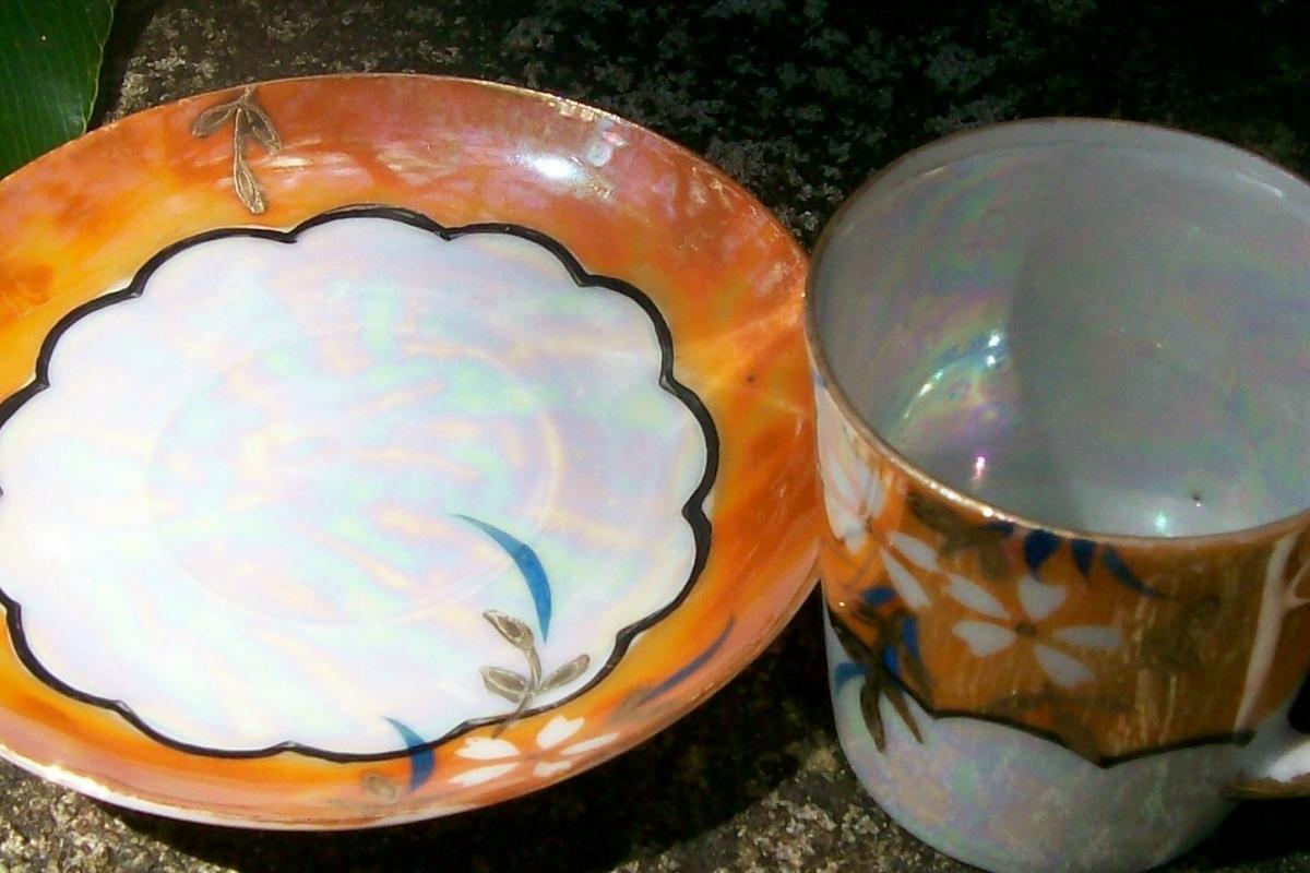 Japanese Lusterware Ceramic Demitasse Cup & Saucer Orange Floral