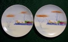 Nagoya Seito Sho Nippon Plate Pair Hand-Painted  Snow Scene 6.5