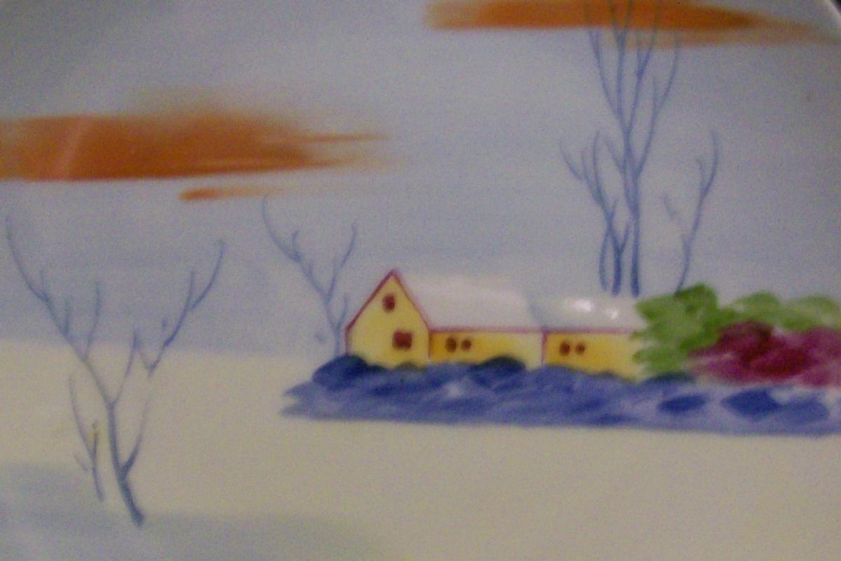 Nagoya Seito Sho Nippon Plate Pair Hand-Painted  Snow Scene 6.5
