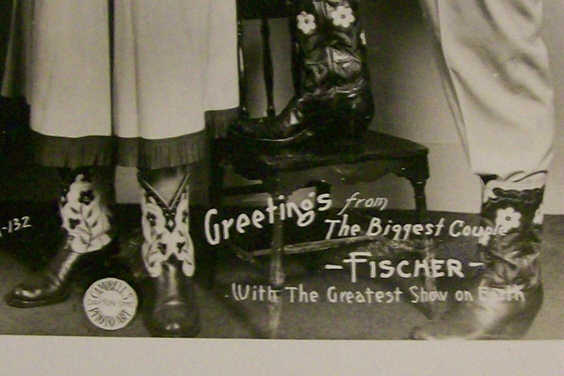 Circus Freak Postcard Fischers The Biggest Couple Late 30's-48 Black & White Photo