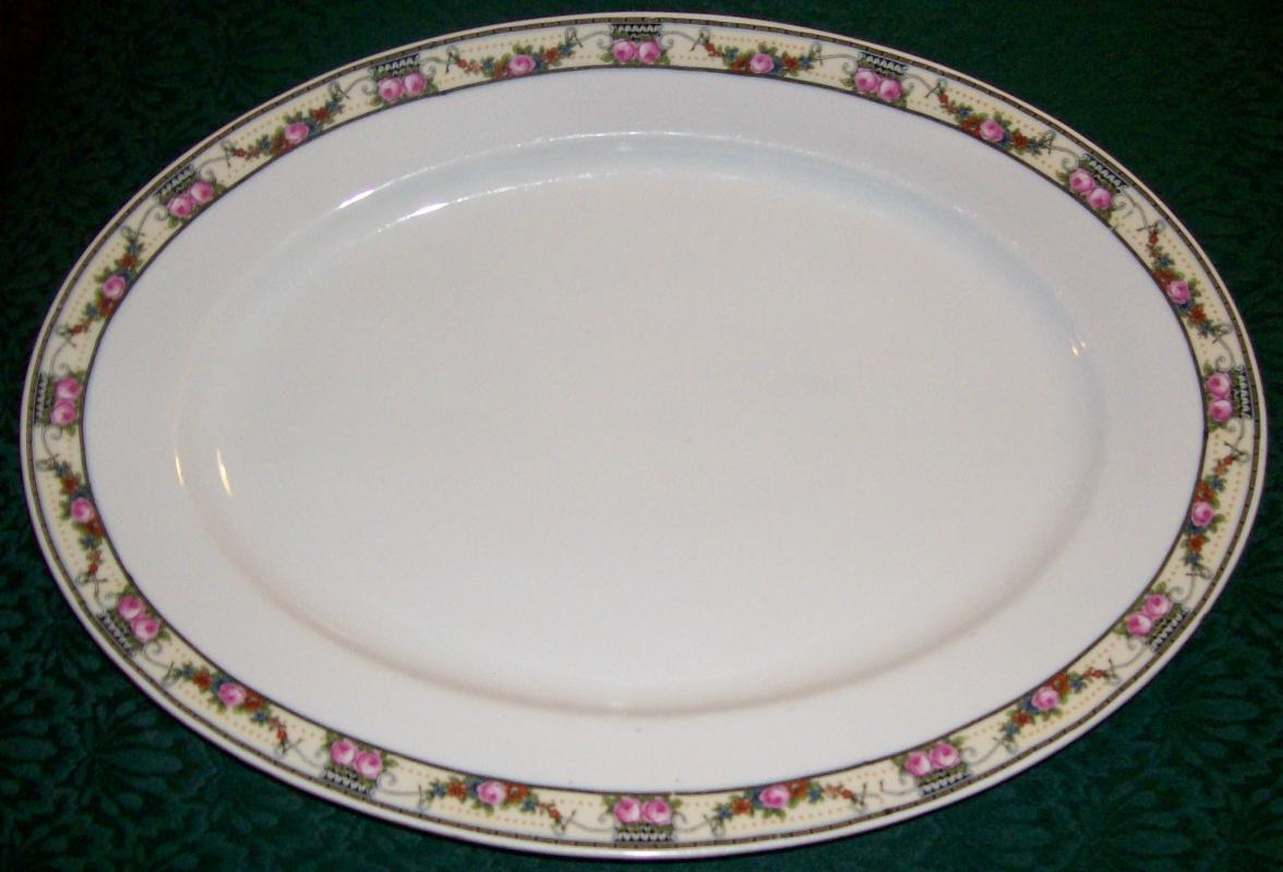 Victoria Czechoslovakia Ceramic Platter VIT43 Schmidt & Co. Pink Rose Border 15 3/8