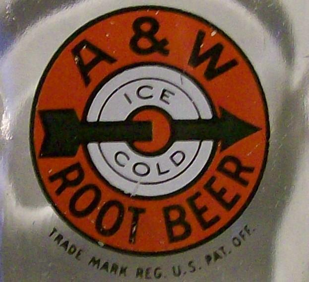 A&W Root Beer Glass Soda Advertising Mug 1940's-50's Bulls-Eye Logo