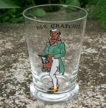 Dickens Enameled Glass Jigger: Bob Cratchit