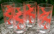 Federal Glass Gazelle Tumblers Set of 4 1950's Red on Clear