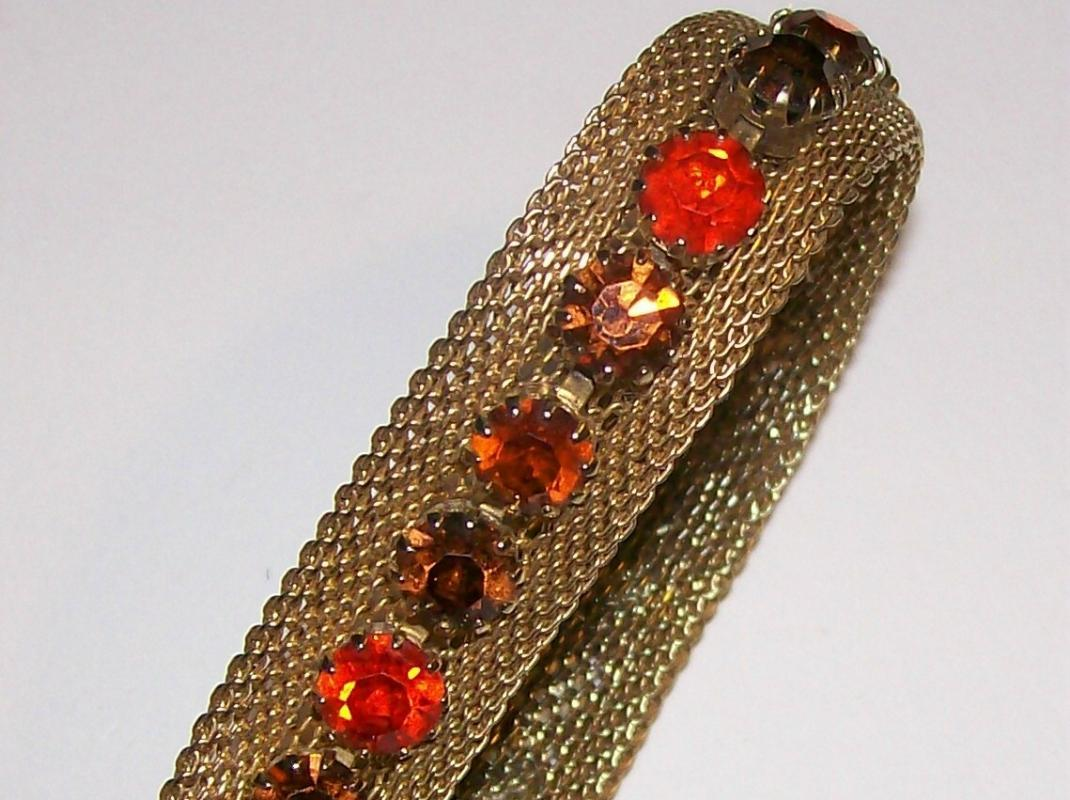 Weiss Austrian Rhinestone Bracelet w/ Mesh Orange to Amber 1950's