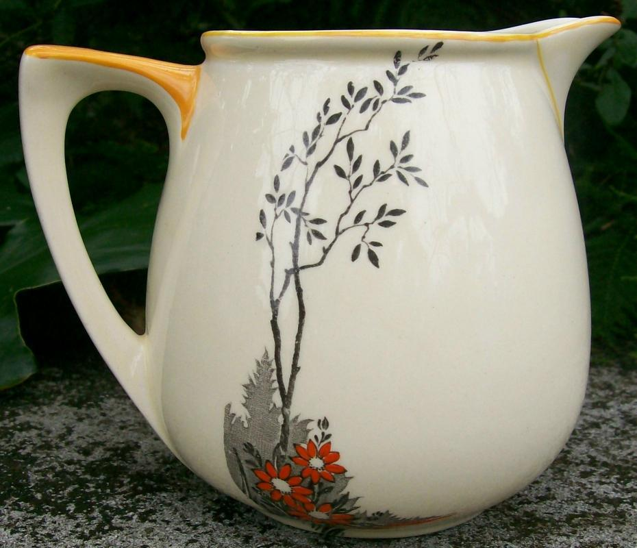 Wedgwood Art Deco Ceramic Pitcher: Shoreline with Orange & Black