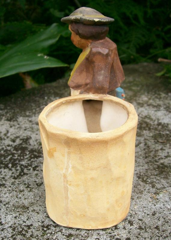Japan Ceramic Cachepot: Faux Wood-carving Vagabond