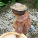 Japan Ceramic Cachepot: Faux Wood-carving Vagabond