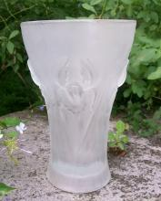 Weil Czech Glass Vase with Iris Pattern
