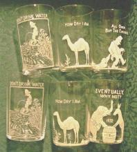 Anti-Prohibition Glass Bar Tumbler Set/6 Slogans & Graphics Early 1930's 3.5