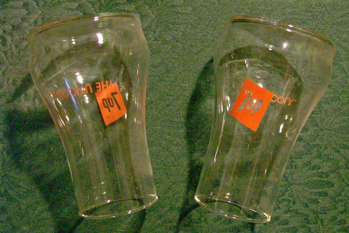 7-Up Advertising Glass Tumbler Pair Mint in Original Box 1970's