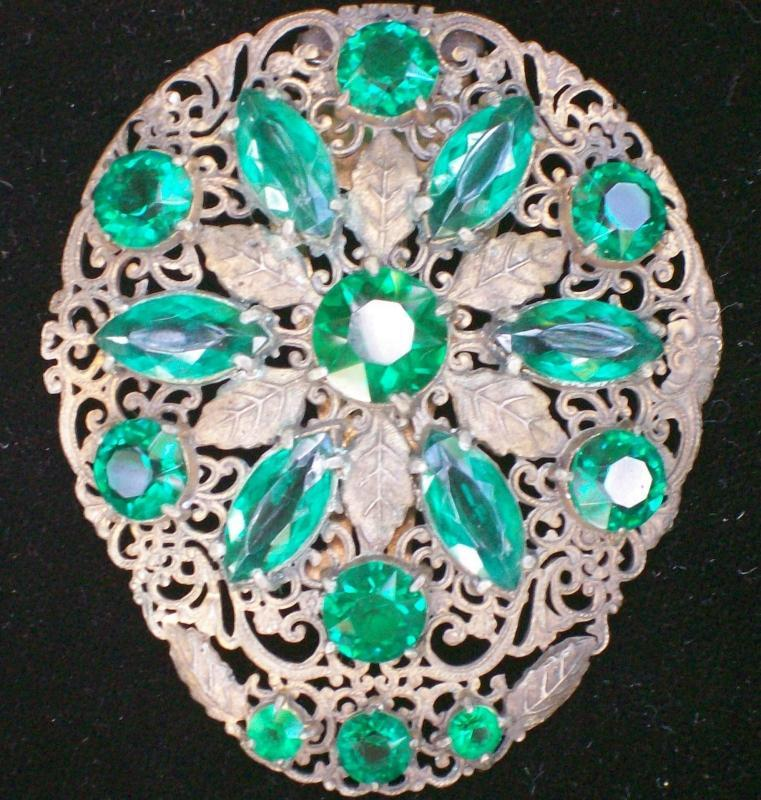 Dress Clip: Brass Filigree with Green Stones