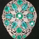 Dress Clip: Brass Filigree with Green Stones