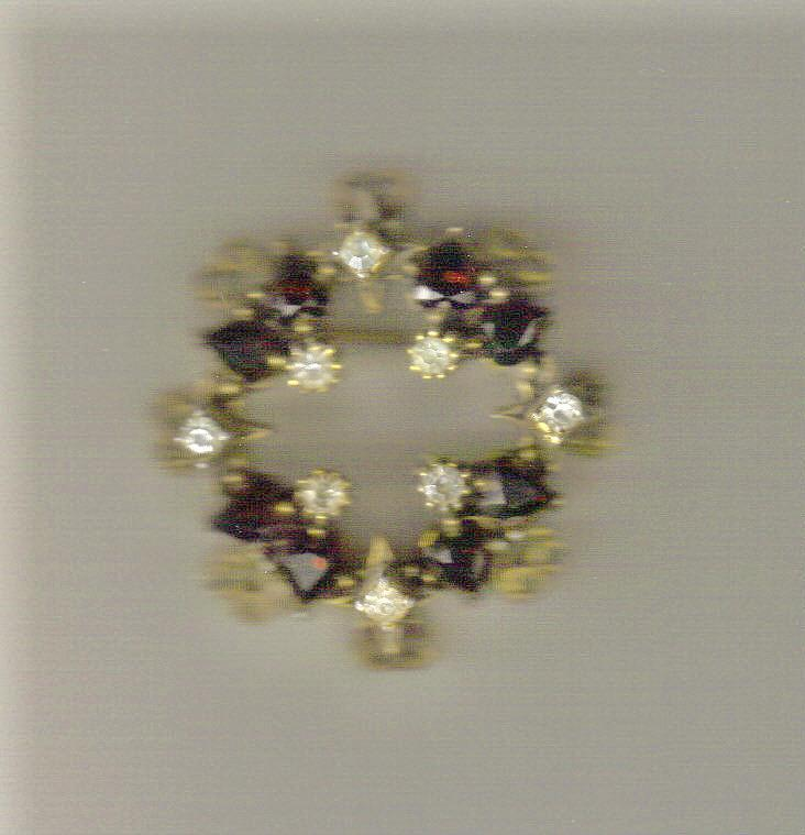 Faux Ruby & Rhinestone Circle Pin: 1940's