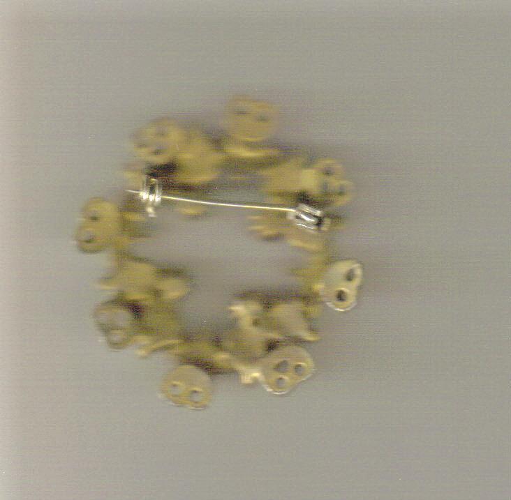 Faux Ruby & Rhinestone Circle Pin: 1940's