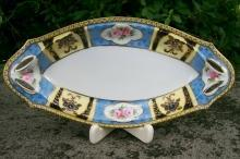 Noritake Ceramic Celery/Relish Dish Ca. 1930's Black/Yellow/Blue