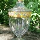 Westmoreland Colonial Candy Jar: Gold Band & Hand-painted Flowers
