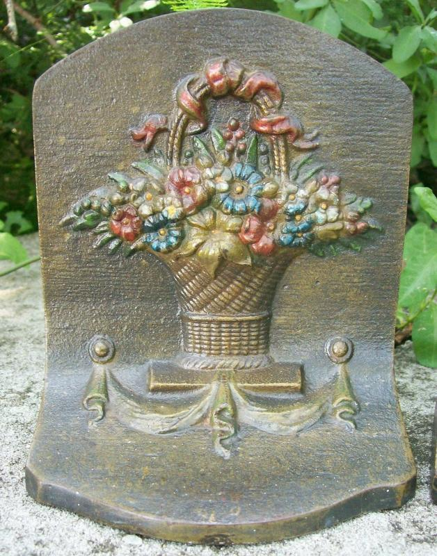 Bradley & Hubbard Cast Iron Bookends: Flower Basket