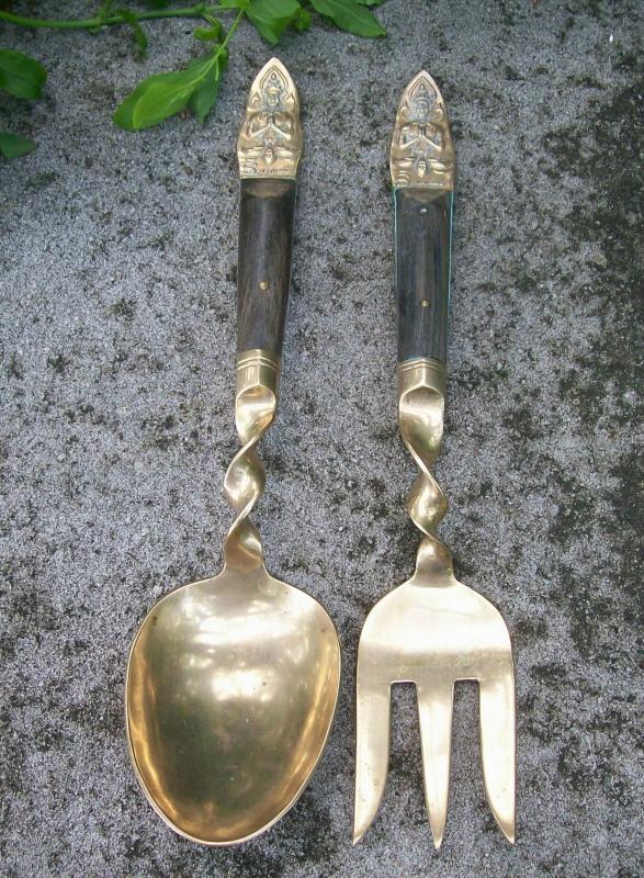 Brass/Bronze Salad Fork & Spoon Set: Thailand