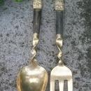 Brass/Bronze Salad Fork & Spoon Set: Thailand