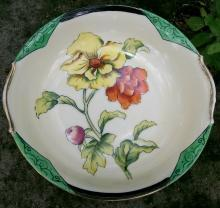 Noritake Art Deco Poppy Bowl with Green Insets