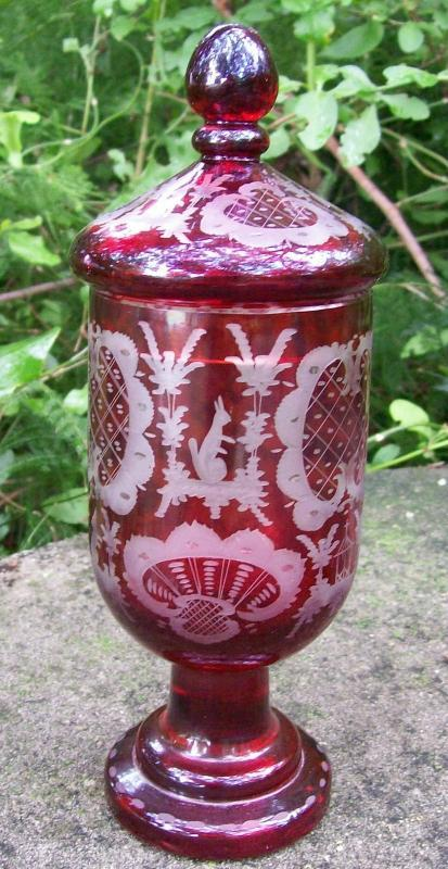 Egermann Bohemian Pokal/Covered Candy: Ruby-cut-to-clear