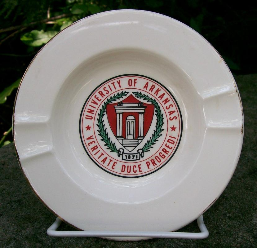 University of Arkansas Ceramic Ashtray 1970's Advertising 5.5