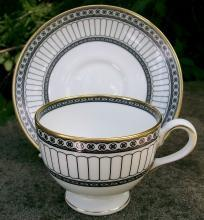 Wedgwood Bone China Colonnade Footed Cup & Saucer Black & White R4340