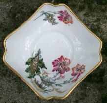 Limoges France Square Porcelain Bowl Floral Transfer 4.5