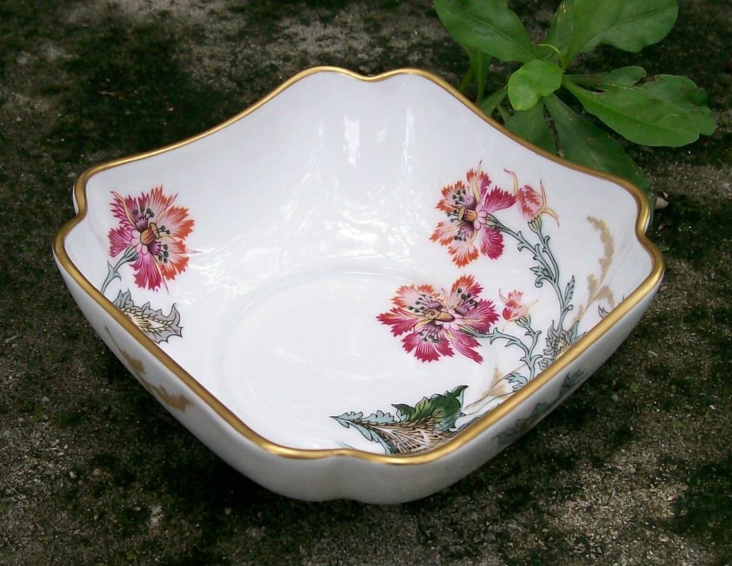 Haviland Limoges Chinese Thistle Square Porcelain Bowl Floral Transfer 4.5