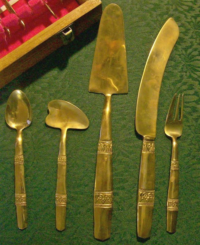 Bangkok Thailand Brass Dessert Flatware with Wooden Box 18 Pc. Set