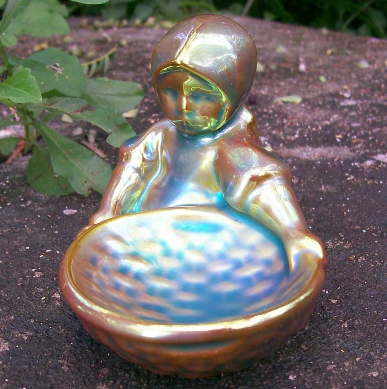 Zsolnay Pottery Eosin Girl with Basket Figurine 1968+ Sinko Pecs Hungary