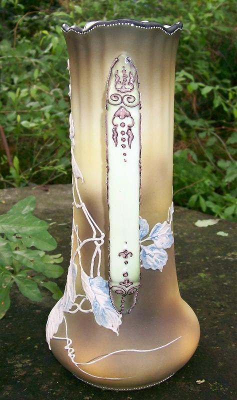 Noritake Nippon Praying Mantis Ceramic Tankard Moriage Decoration 10.5