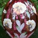 Fenton Cranberry Glass Vase: Jo Reynolds Hand-Painted Flowers