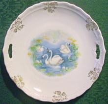 Swan Decal Cake Plate:  Early 1900's