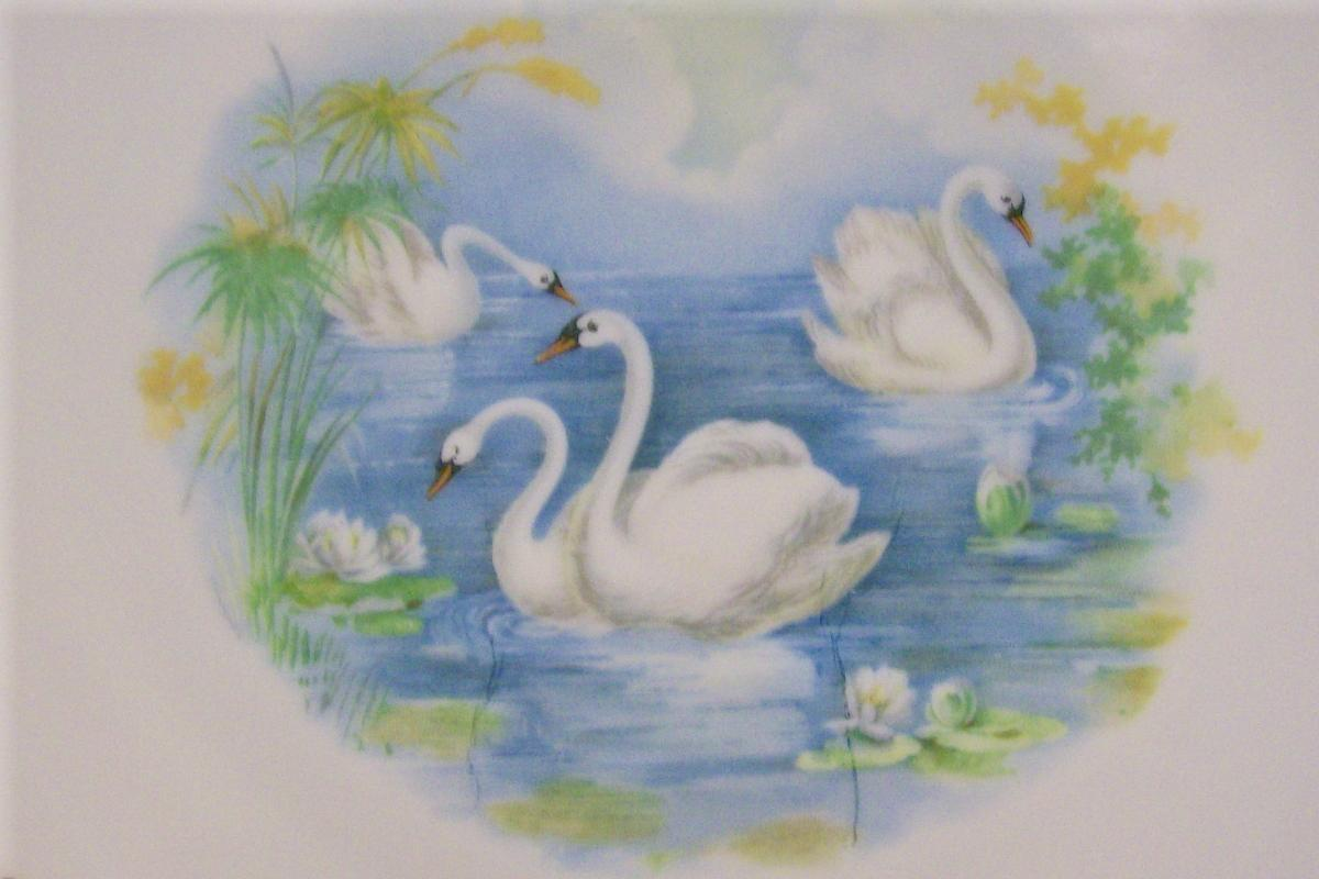 Swan Decal Porcelain Cake Plate Early 1900's 9.25