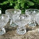 Lead Crystal Salt Cellar Set:  Hexagonal Pedestal Base