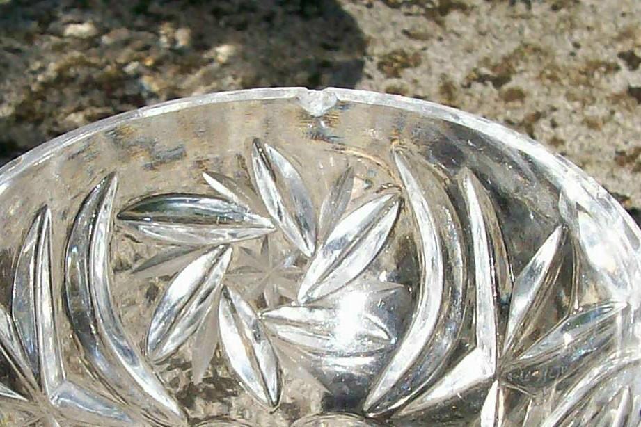 Lead Crystal Salt Cellar Set:  Hexagonal Pedestal Base