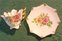 Enesco/Japan Miniature Ceramic Cup & Saucer: Octagon with Roses