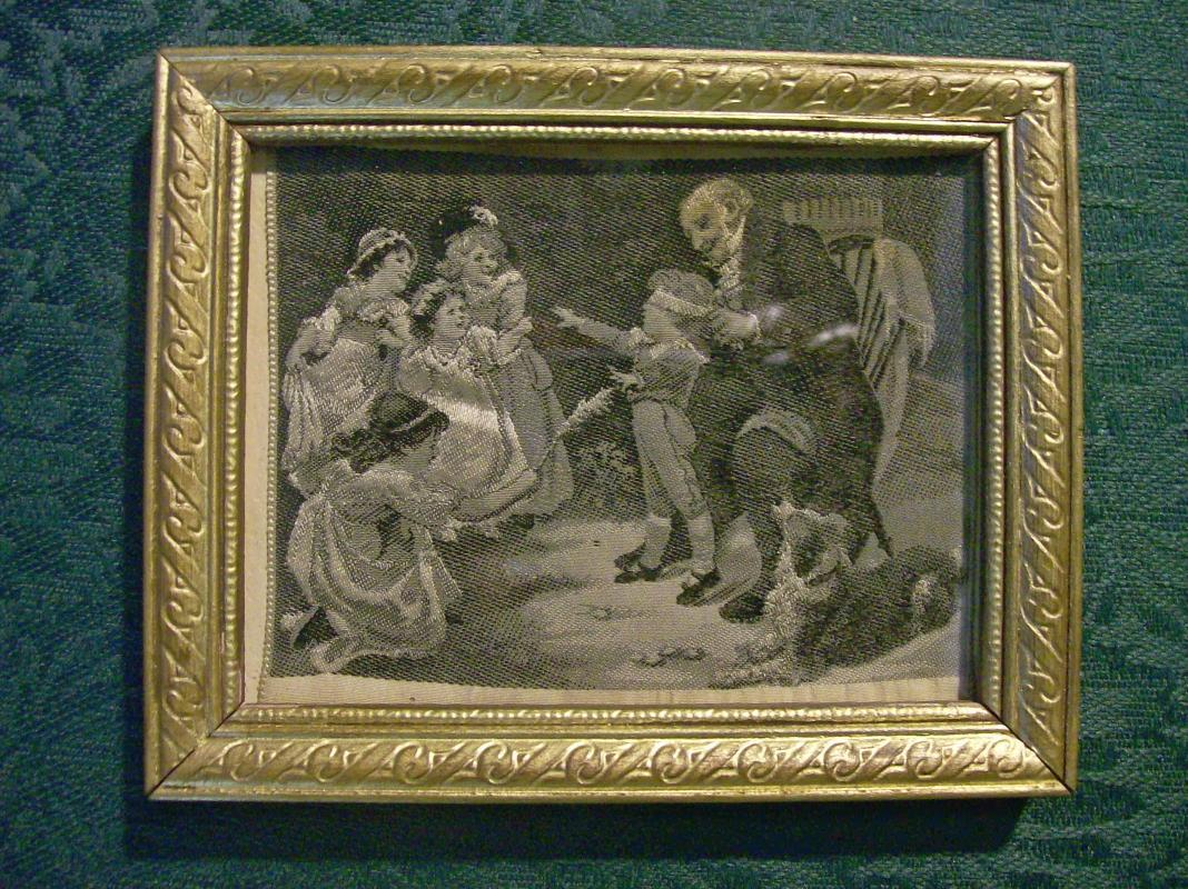 Stevengraph Woven Silk Children Playing Blind Man's Bluff B&W 3