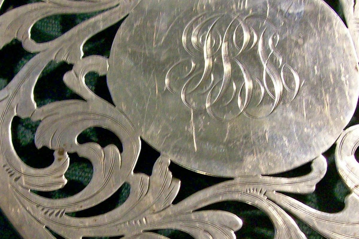 Merrill Shops Sterling Silver Trivet with Monogram